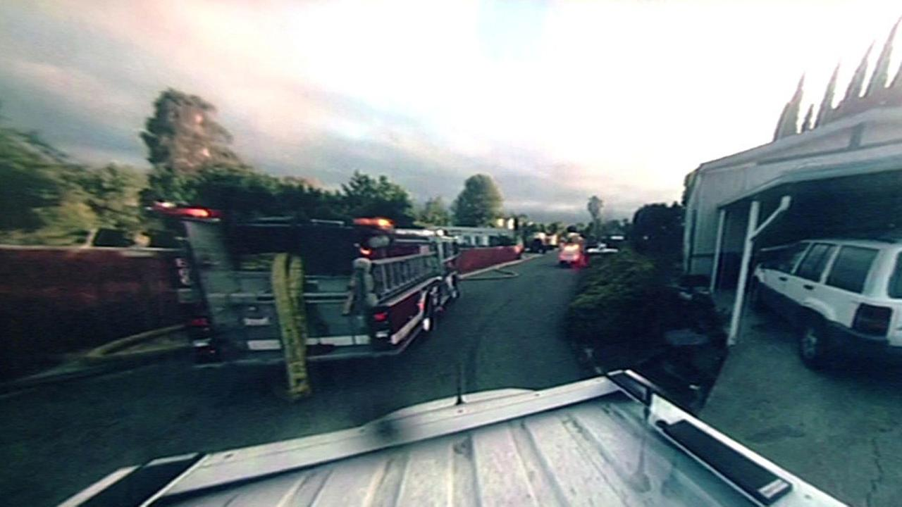 A fire threatened homes early Tuesday morning in Bay Point, California.