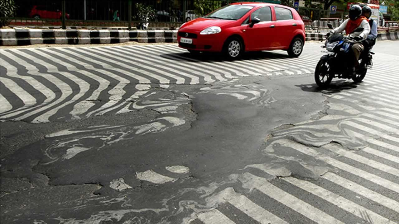 In New Delhi, India, a stifling heatwave was so intense it melted the crosswalk lines on a major road.