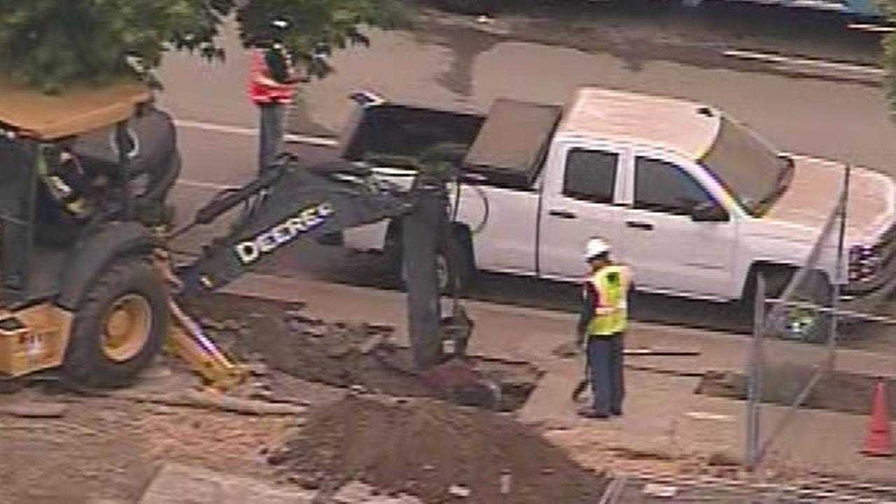 A construction crew ruptured a 4-inch gas line in San Jose, Calif. on Tuesday, June 9, 2015.