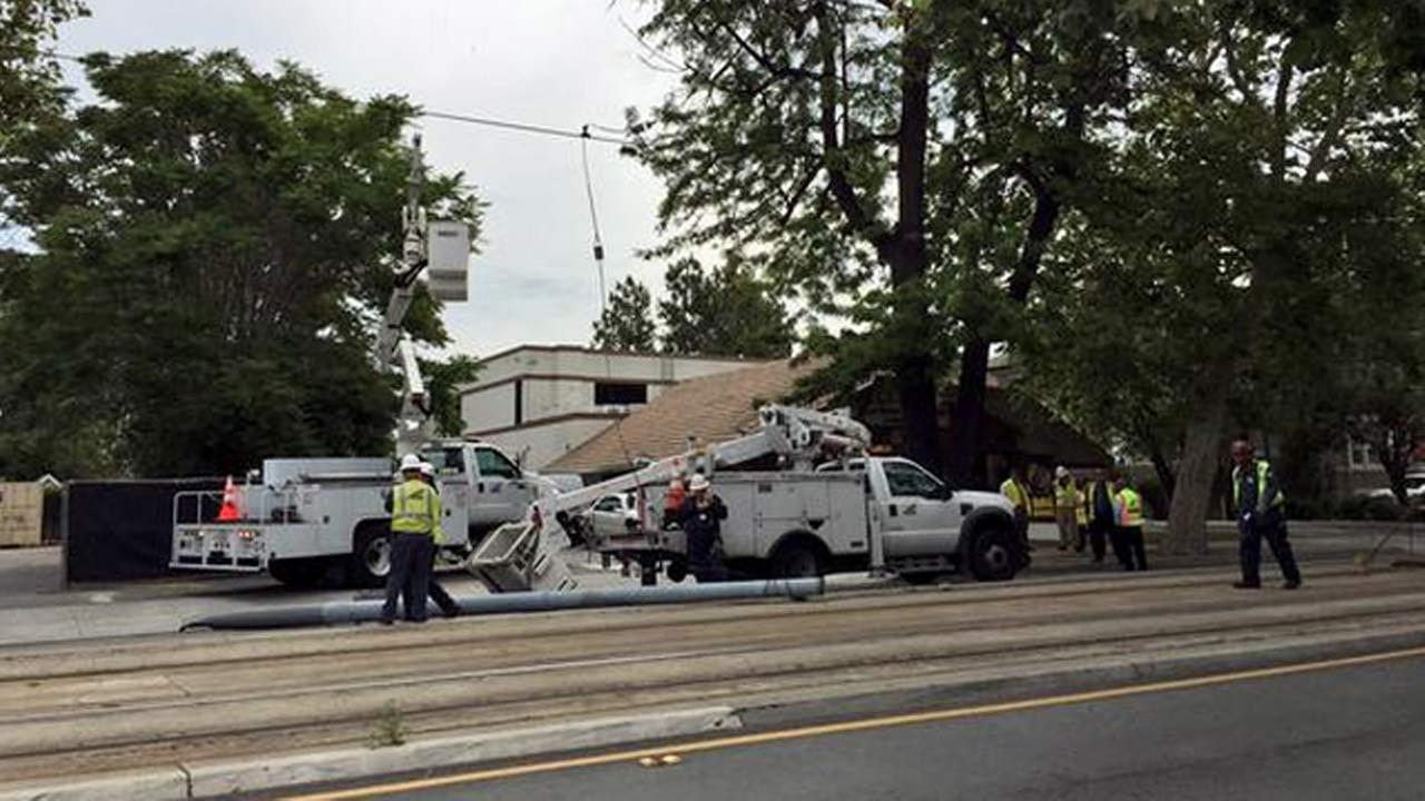 A van that crashed into a pole has disrupted light-rail service to and from downtown San Jose.