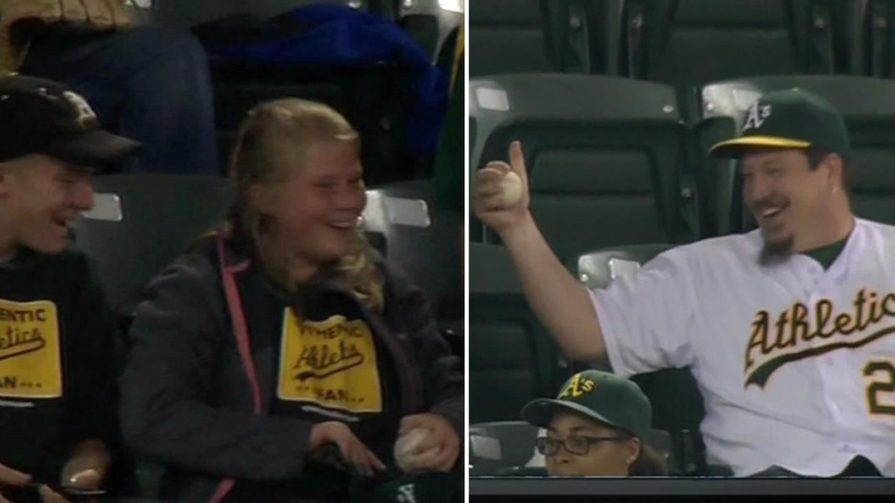 Oakland Athletics fans shared a sweet moment at O.co Coliseum in Oakland, Calif. on June 9, 2015.