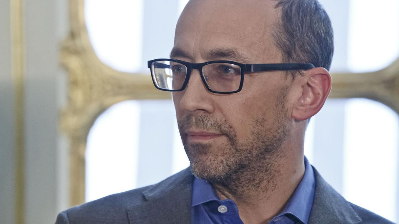 CEO of Twitter Dick Costolo listens to the speech of Frances Culture Minister Fleur Pellerin during a press conference at the culture ministry in Paris, March 5, 2015. (AP Photo/Michel Euler)