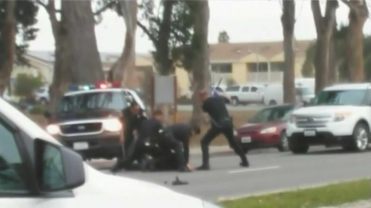 A bystander videotaped as Salinas police officers beat an intoxicated man with batons.