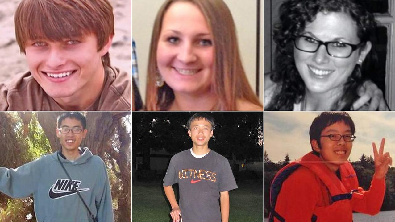 The six Isla Vista massacre victims, from top left: Christopher Michaels-Martinez, Veronika Weiss, Katie Cooper, James Cheng-Yuan Hong, George Chen, David Wang.