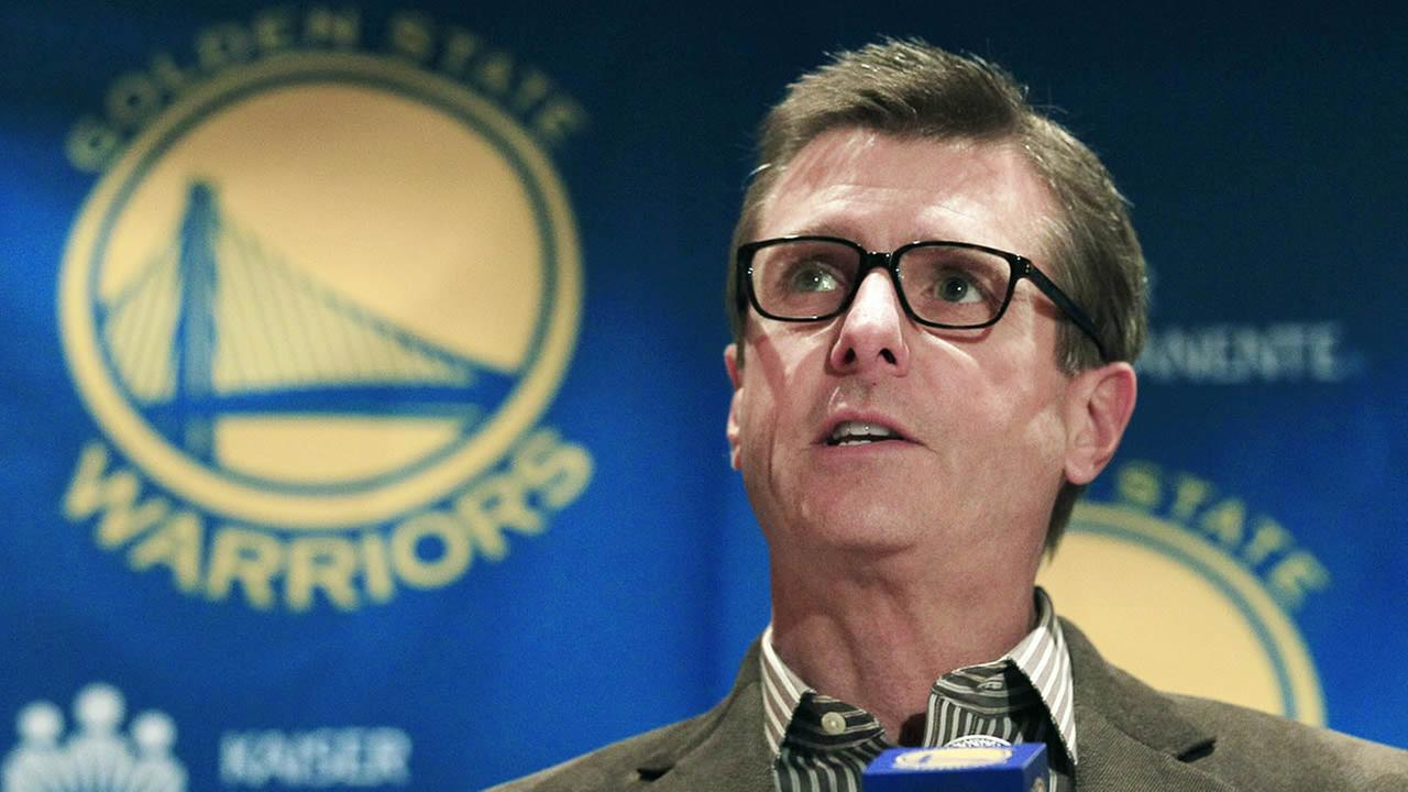 Golden State Warriors President and COO Rick Welts speaks to reporters in Oakland, Calif., Wednesday, Dec. 21, 2011. (AP Photo/Jeff Chiu)