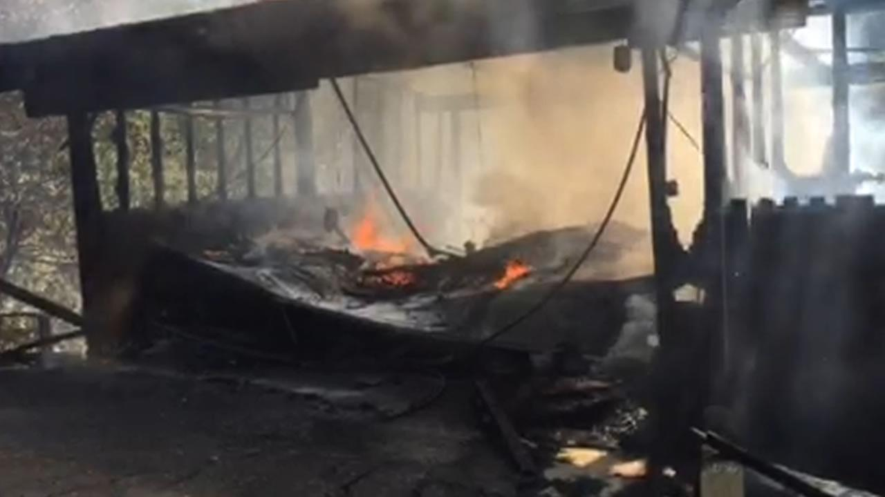 A two-alarm fire burned a home on Charles Hill Rd. in Orinda, Calif. on Sunday, June 21, 2015.
