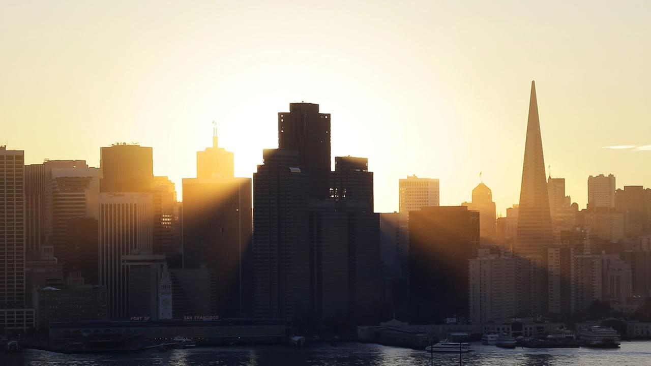 The sun sets behind the city skyline on Wednesday, Jan. 7, 2015, in San Francisco.