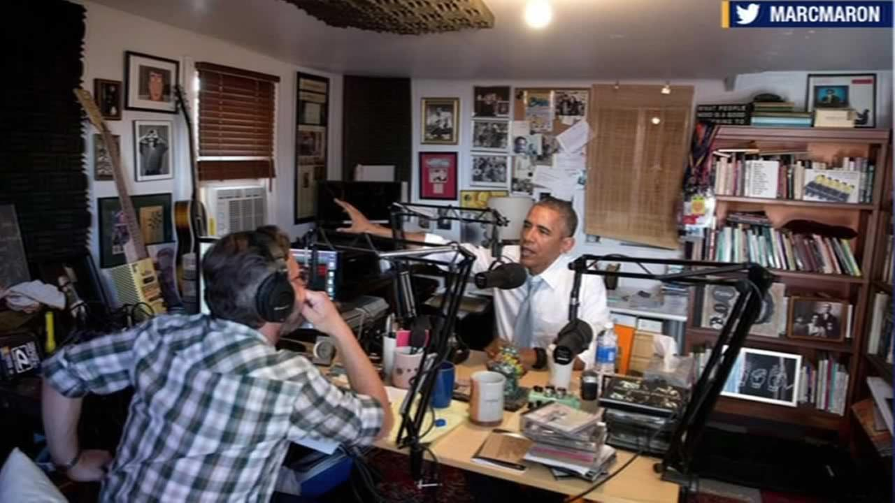 President Barack Obama and comedian Mark Maron are seen speaking during a podcast interview that was released on June 22, 2015.