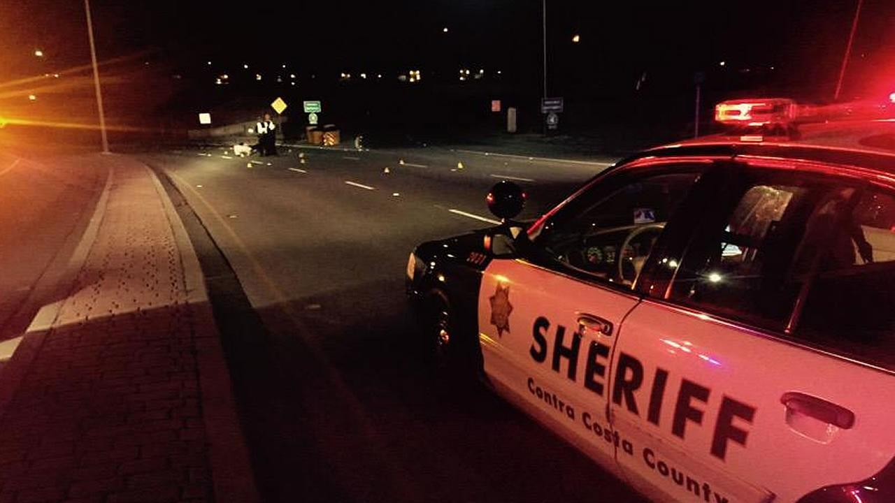 Sheriffs Department vehicle is stopped at the scene of a shooting