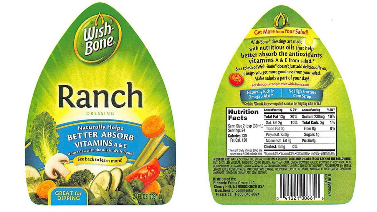 Recall issued for Wishbone creamy ranch dressing 24-ounce bottles with an expiration date of February 17, 2016.