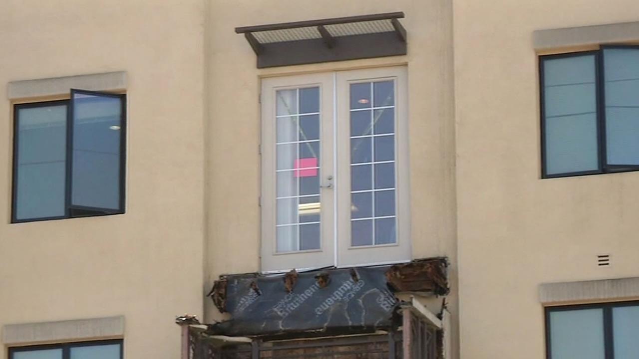 black moisture barrier on collapsed Berkeley balcony