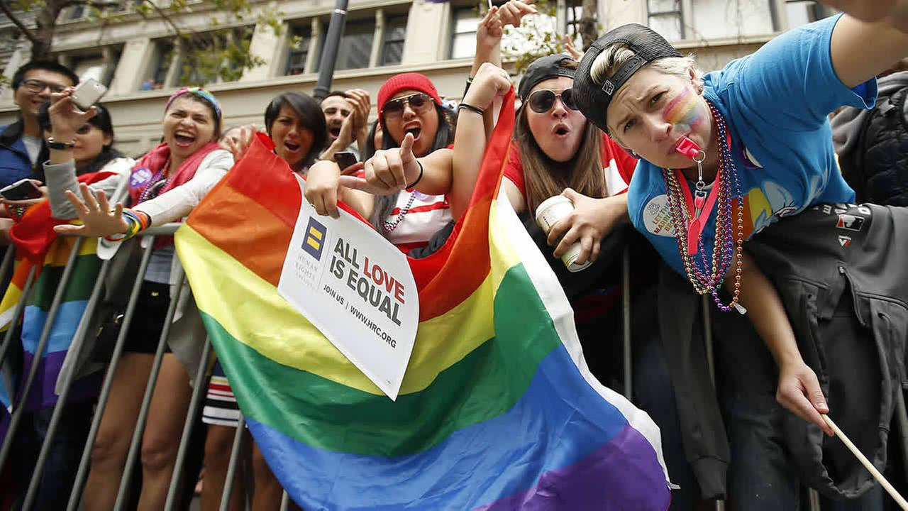 Crowds cheer on the performers during the 45th annual San Francisco Gay Pride parade Sunday, June 28, 2015, in San Francisco. (AP Photo/Tony Avelar)