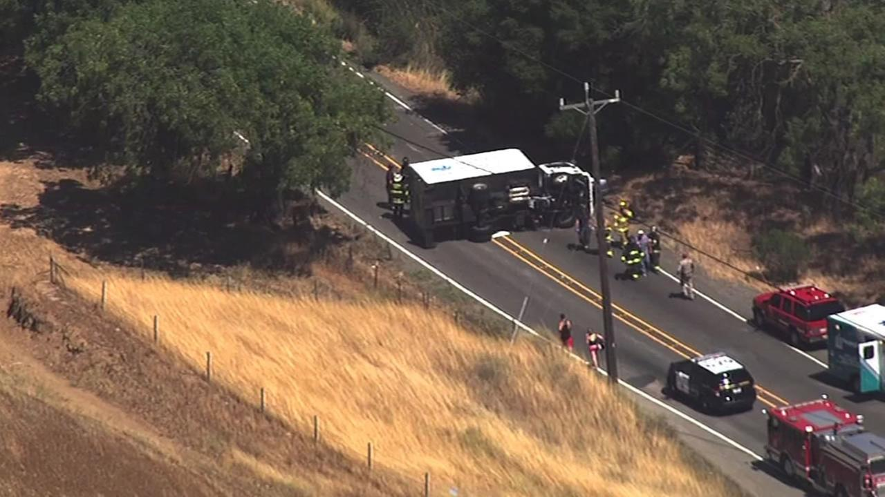 A delivery truck involved in a multi-vehicle crash overturned on Highway 84 near Sunol Tuesday, June 30, 2015.