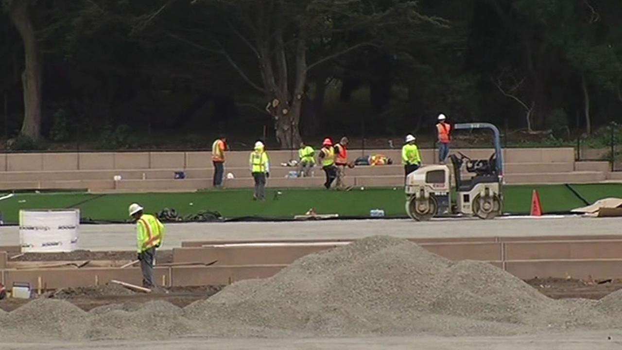 new turf being installed at Beach Chalet Soccer Fields