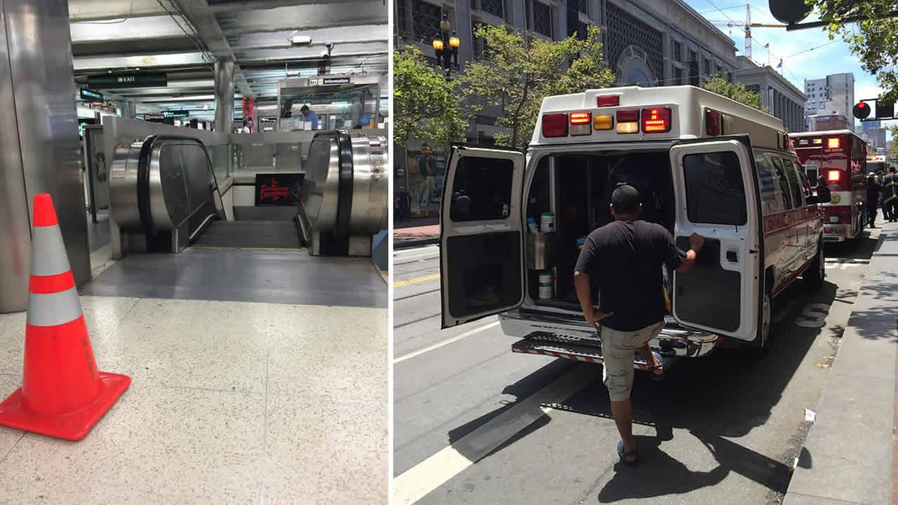 Officials say four people were treated for minor injuries after an escalator accident at the Powell BART station in San Francisco on Sunday, July 12, 2015.