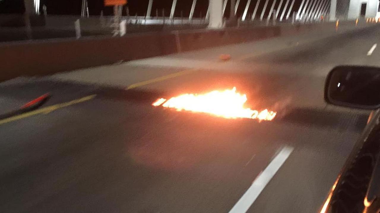 Flames on Bay Bridge