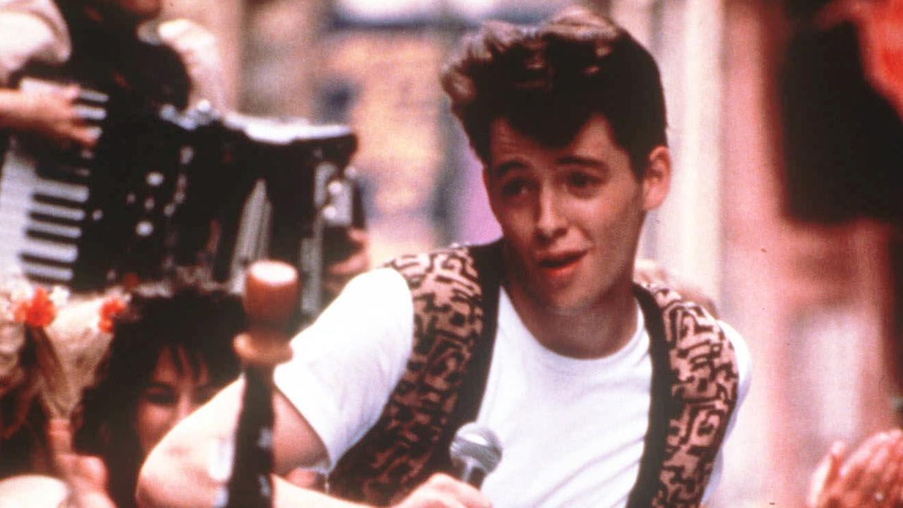 FILE - In this photo provided by Paramount Pictures, actor Matthew Broderick appears from a scene from the film Ferris Buellers Day Off in 1986..