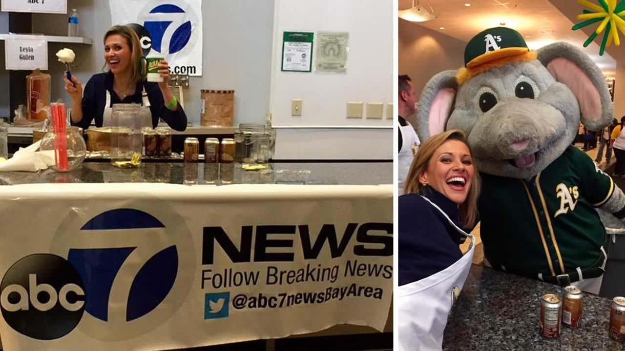 ABC7 News Traffic Reporter Leyla Gulen scooped up sweet treats at the Oakland Athletics annual Root Beer Float Day in Oakland, Calif. on Wednesday, July 22, 2015.