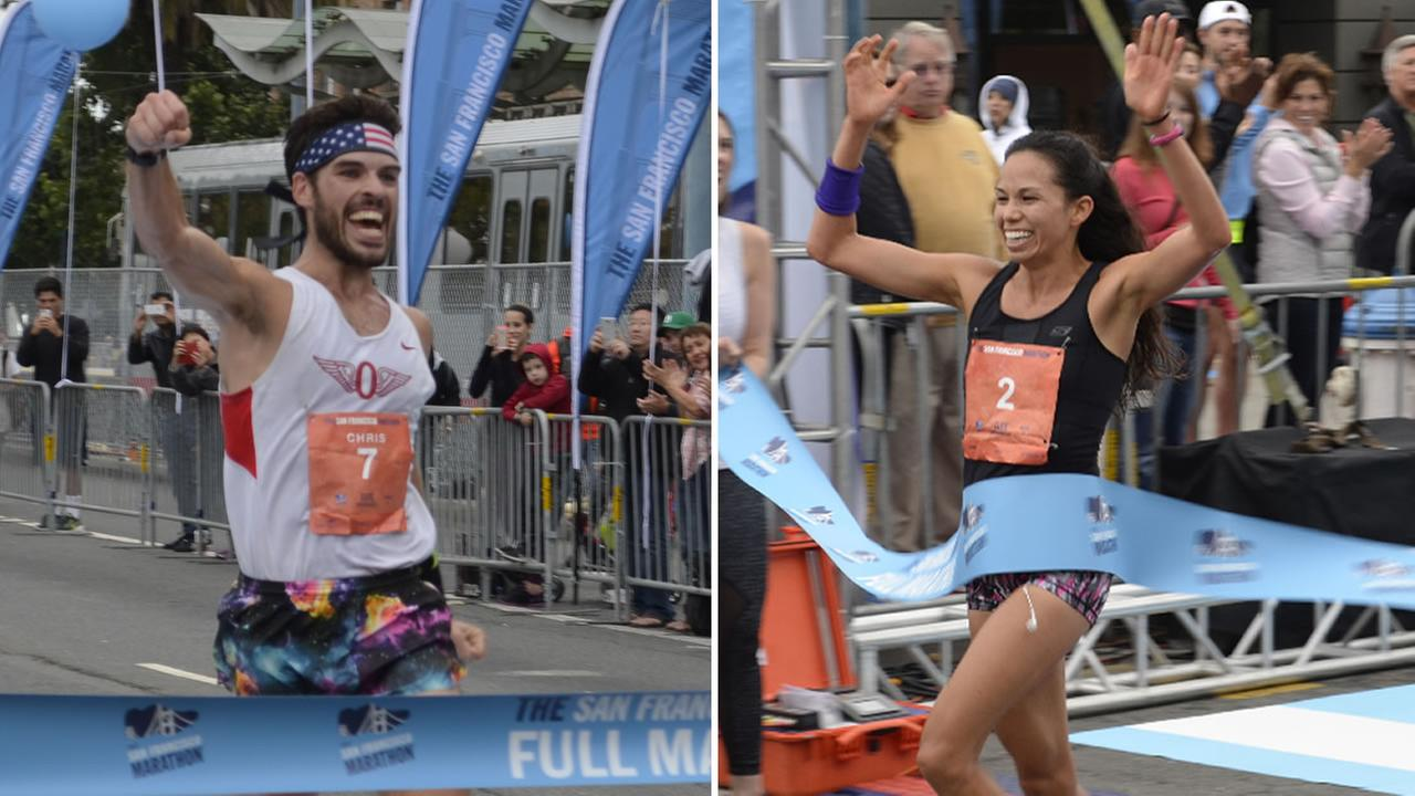 San Franciscos Chris Mocko, 29, and Berkeleys Anna Bretan, 30, won first place in the San Francisco Marathon on Sunday, July 26, 2015.