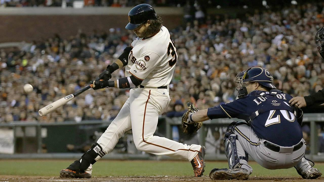 San Francisco Giants Brandon Crawford hits a two-run home run