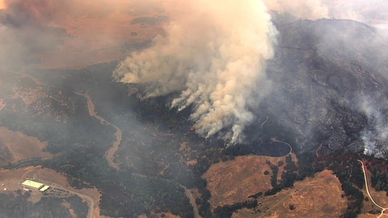 The Rocky Fire burning near Clear Lake, Calif. has scorched more than 18,000 acres and was only five percent contained Friday, July 31, 2015.