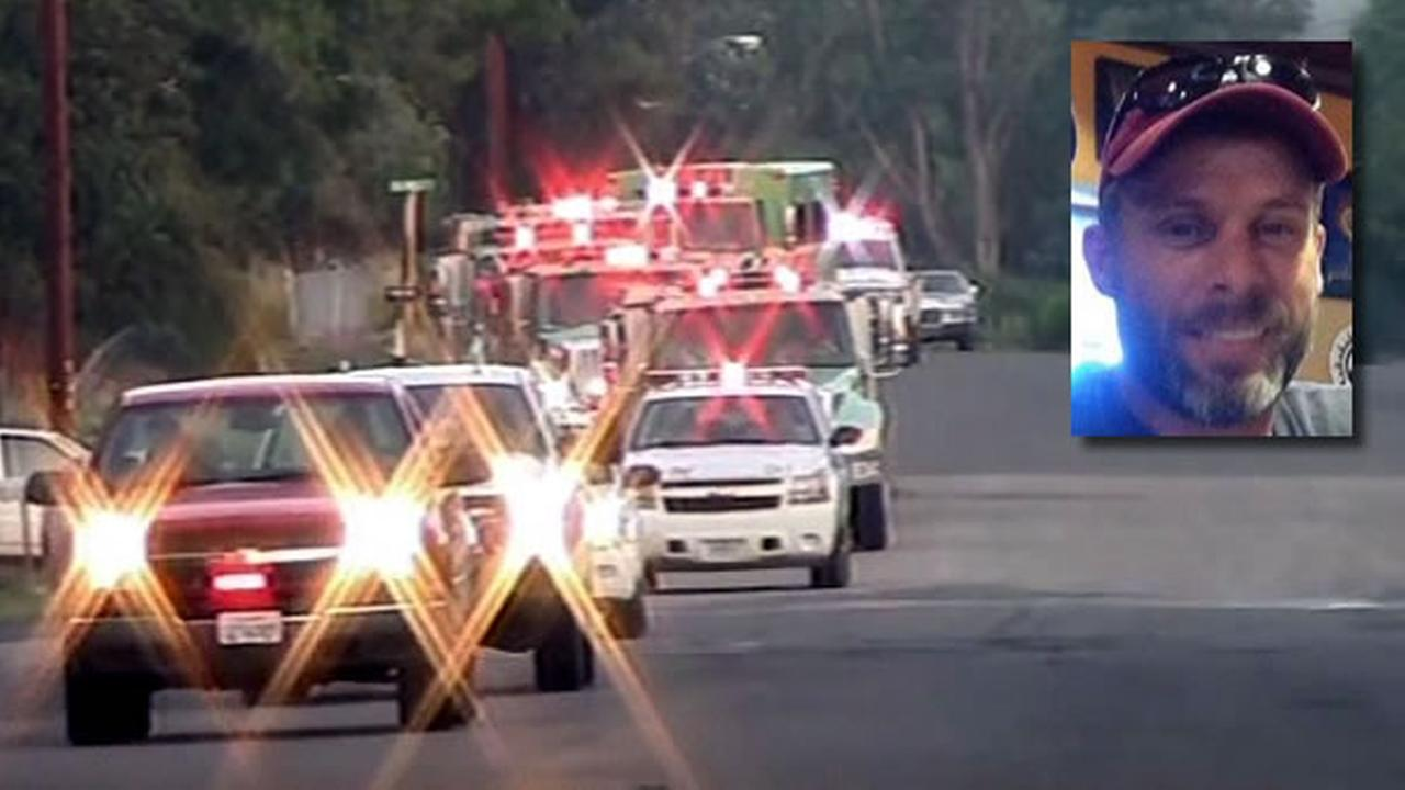 A firefighter who died in the line of duty last week was honored during a procession on Monday, August 3, 2015.