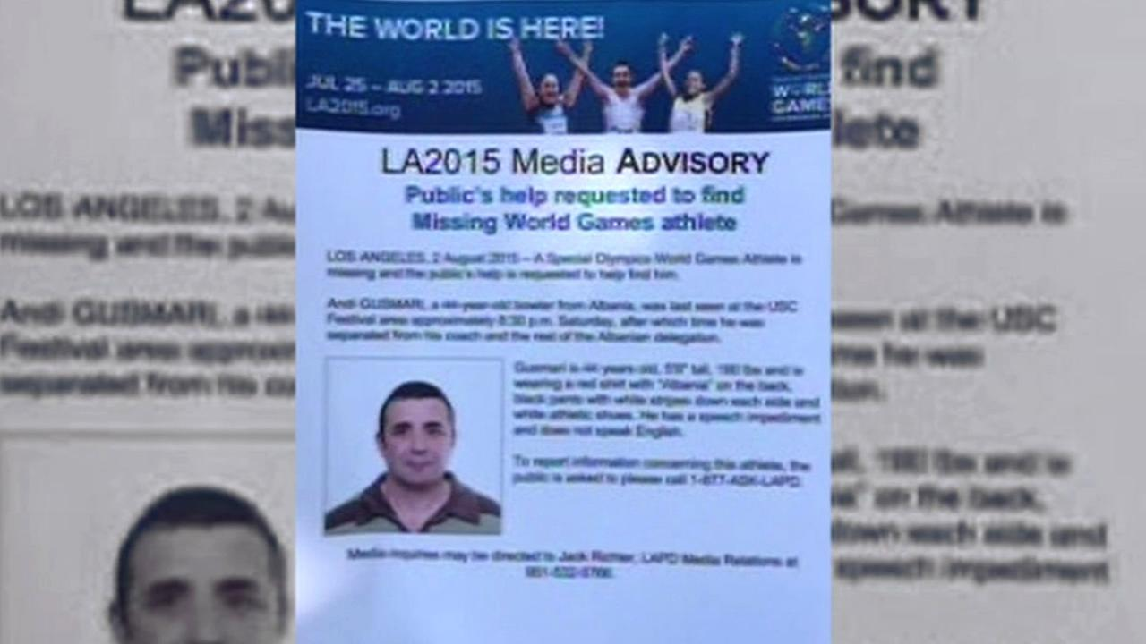 Special Olympics athlete Andi Gusmari, 44, from Albania, went missing in Los Angeles on Saturday, August 1, 2015 and was found in Hayward, Calif. on Monday, August 3, 2015.