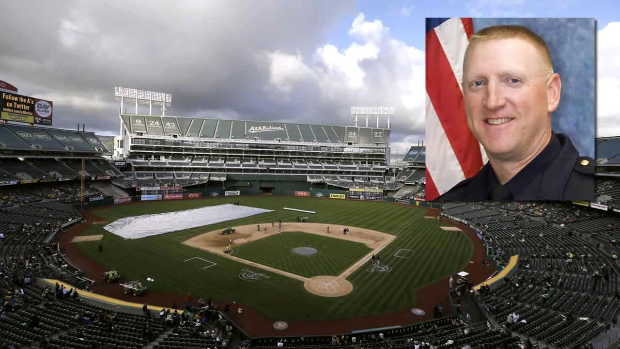 The Oakland Athletics are honoring fallen Hayward Police Sgt. Scott Lunger before their game on Sunday, August 9, 2015.