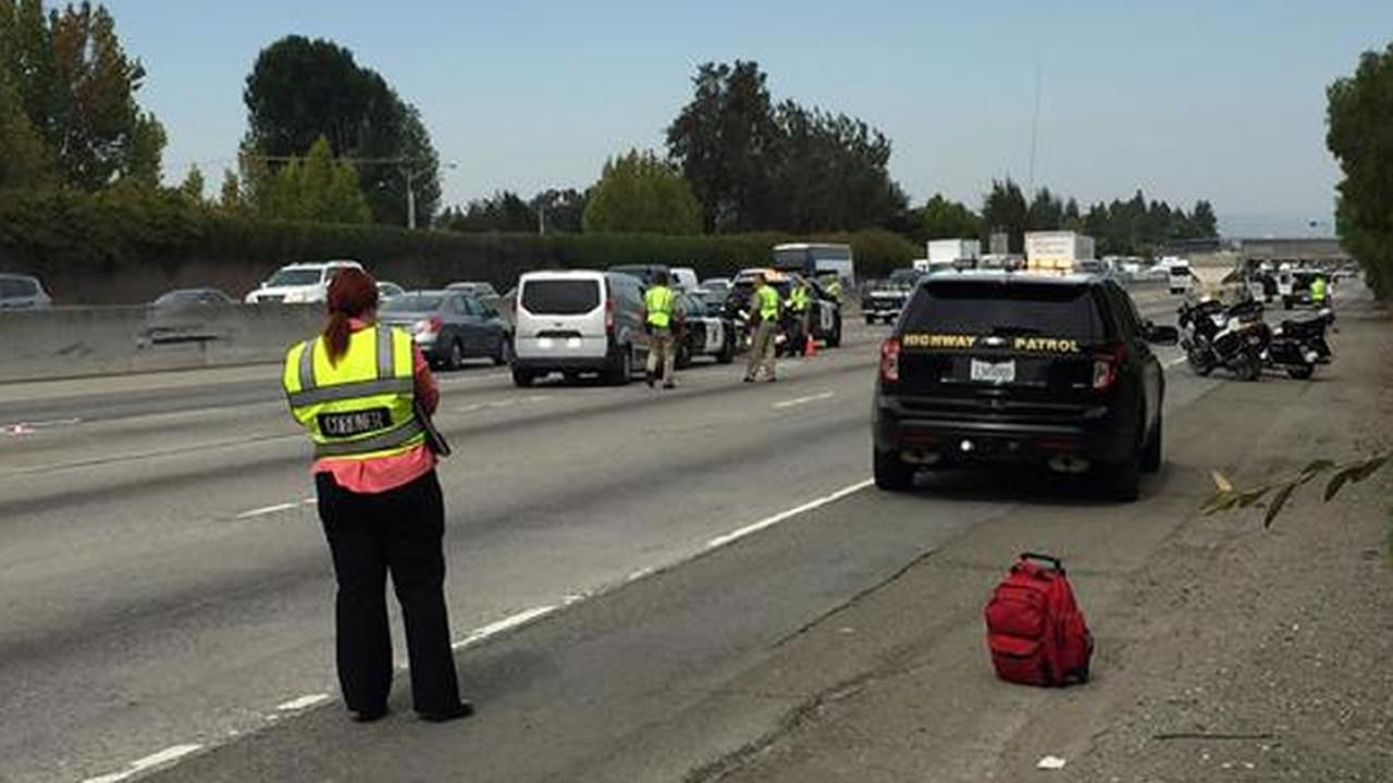Two northbound lanes of Highway 101 in Mountain View, Calif. were temporarily closed following a fatal motorcycle accident on Thursday, August 6, 2015.