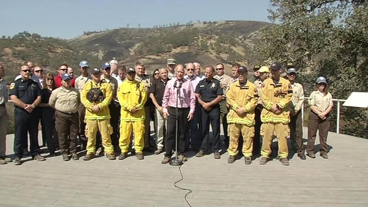 Speaking about Californias wildfires at Clear Lake, Calif., on Thursday, Aug. 6, 2015, Gov. Jerry Brown called on Republicans to address climate change at their first GOP debate.