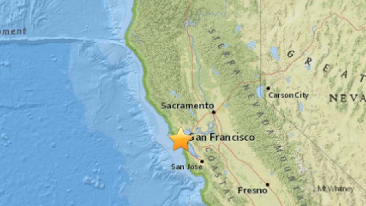 USGS reported a 3.3 magnitude earthquake hit nine miles west of San Francisco, August 9, 2015.