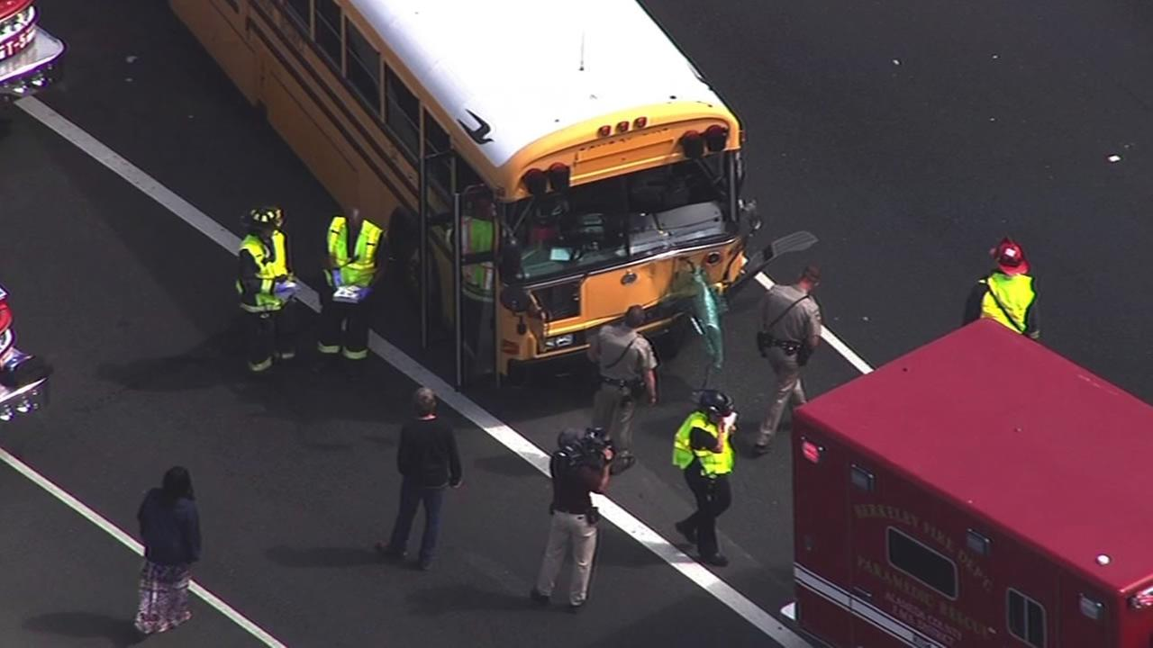A bus full of children was involved in a multi-vehicle crash on I-80 in Berkeley, Calif. on Monday, August 10, 2015.