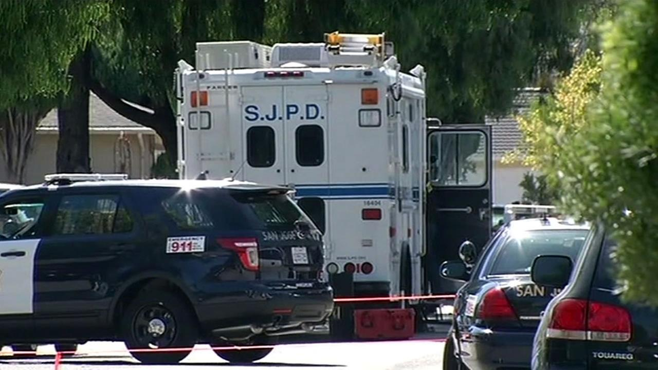 San Jose police responded to reports of a man with a gun in the Cherrywood neighborhood on Monday, August 10, 2015.