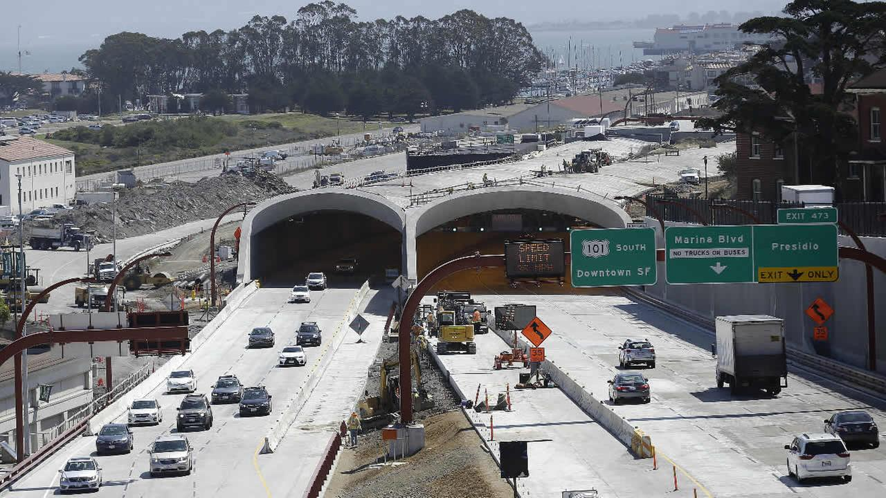 FILE: Cars drive along Presidio Parkway in San Francisco, Wednesday, July 15, 2015.
