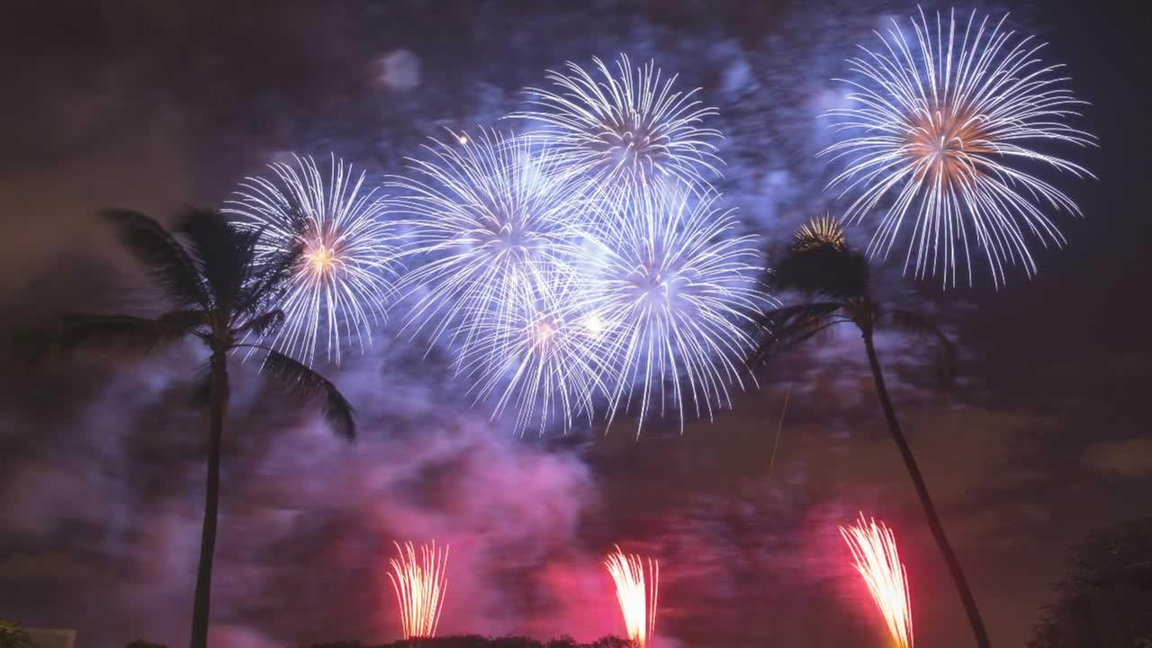 Fireworks from Nagaoka City, Japan explode over Ford Island to celebrate the anniversary of the end of World War II at Joint Base Pearl Harbor-Hickam, Saturday, August 15, 2015.