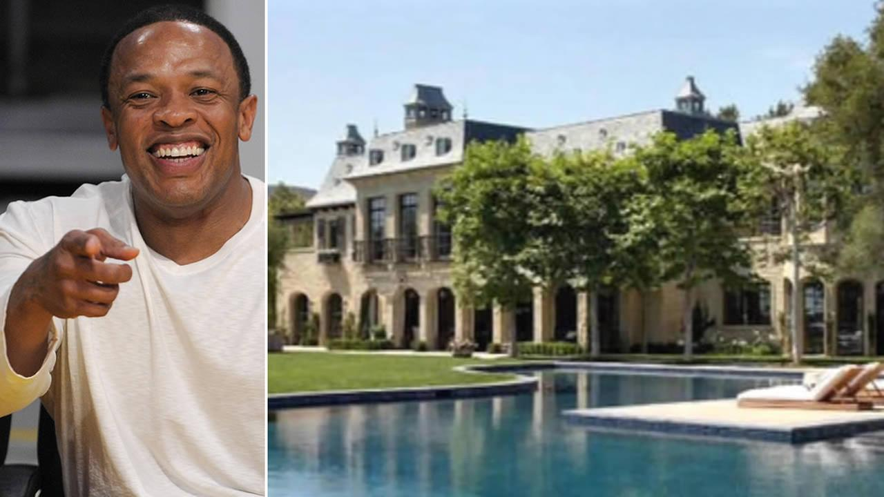 (Left: Dr. Dre (AP); Right: Tom Brady and Gisele Bundchens mega-mansion in Brentwood)