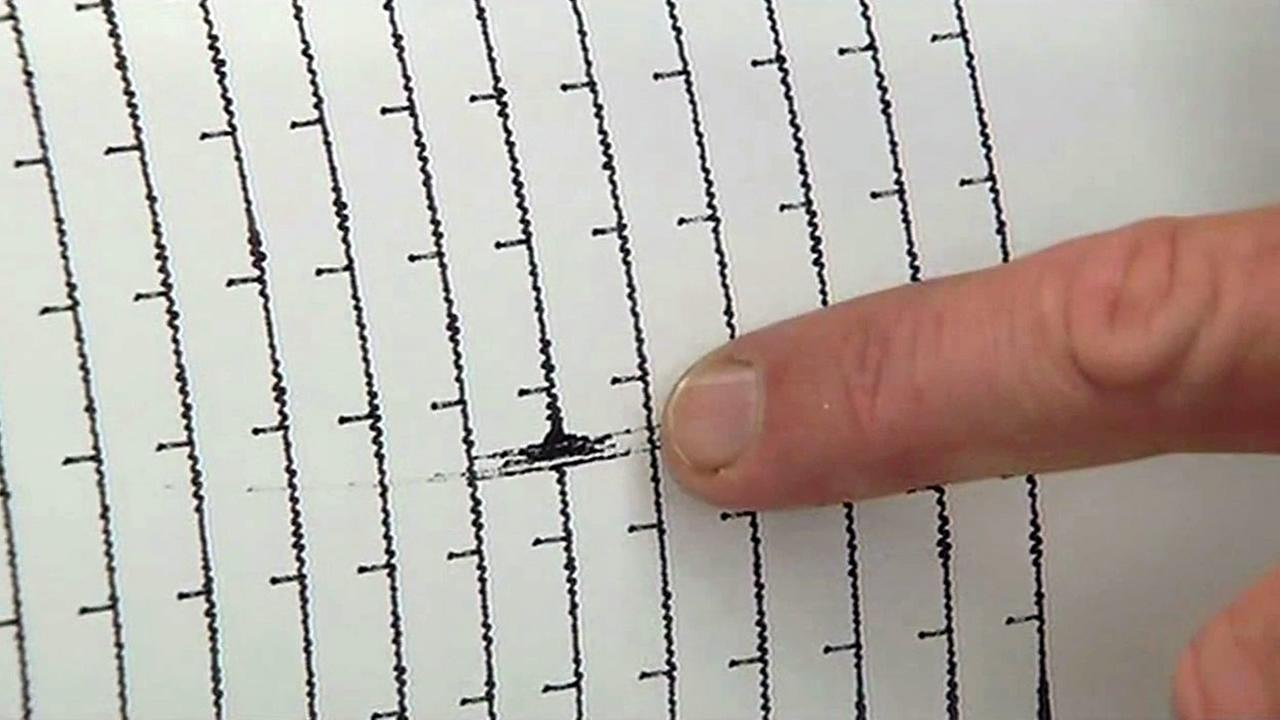 A seismograph at the UC Berkeley Seismological Laboratory shows a 4.0 earthquake that struck near Piedmont, Calif. on Monday, August 17, 2015.