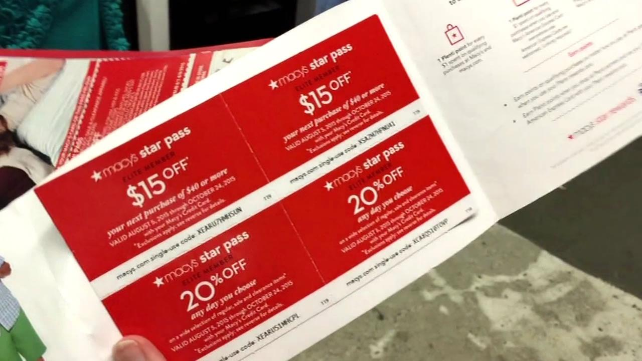 This undated images shows coupons for Macys.