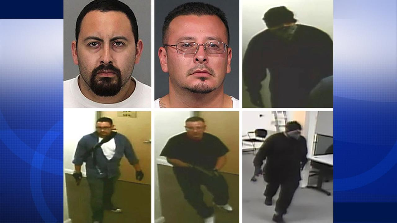 San Jose police have identified two murder suspects who were shot and killed by officers as 29-year-old Matthew Castillo (top left), and 40-year-old Richard Jacquez (top middle).