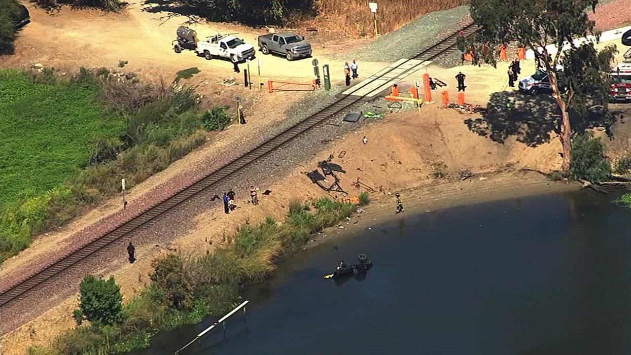 Two people were injured after an Amtrak train hit a pickup truck in Orwood, Calif. on Thursday, August 20, 2015.