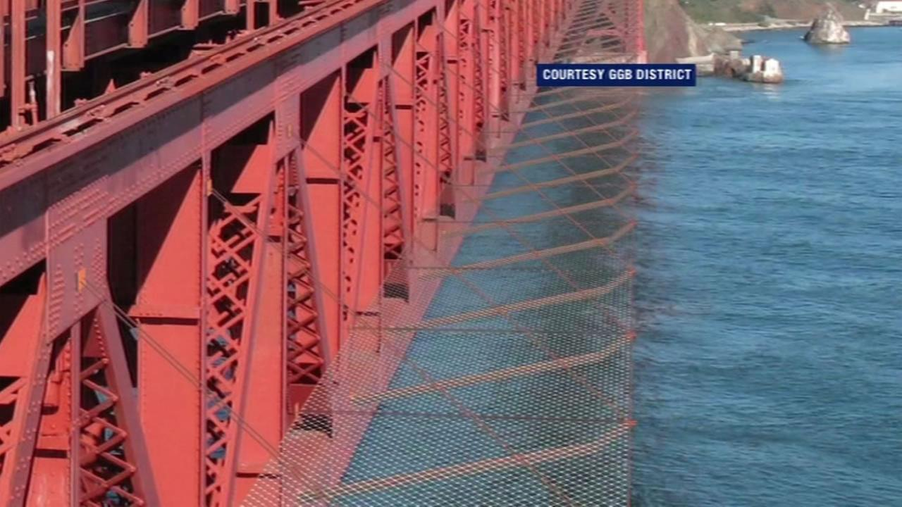 This image shows a steel net that will be installed on the Golden Gate Bridge to prevent suicides.