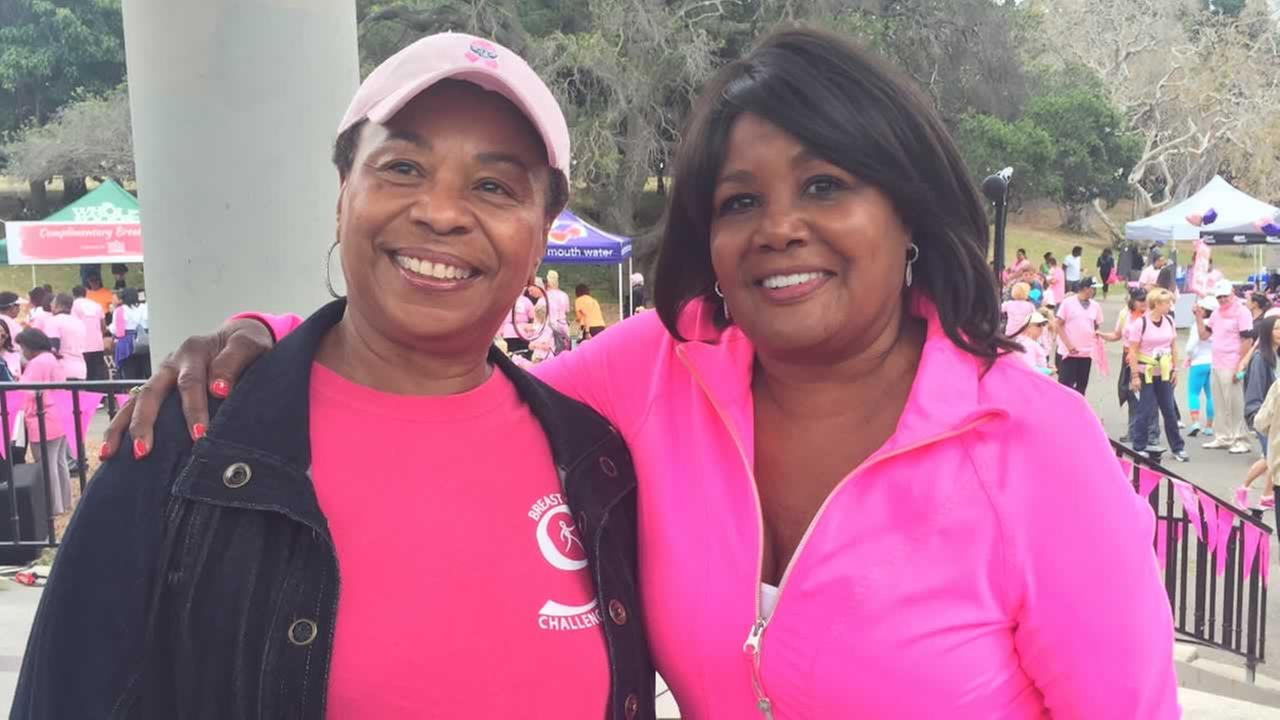 Carolyn Tyler poses with Congresswoman Barbara Lee at this years Friends of Faith walk in Oakland, Calif. on Saturday, August 22, 2015.