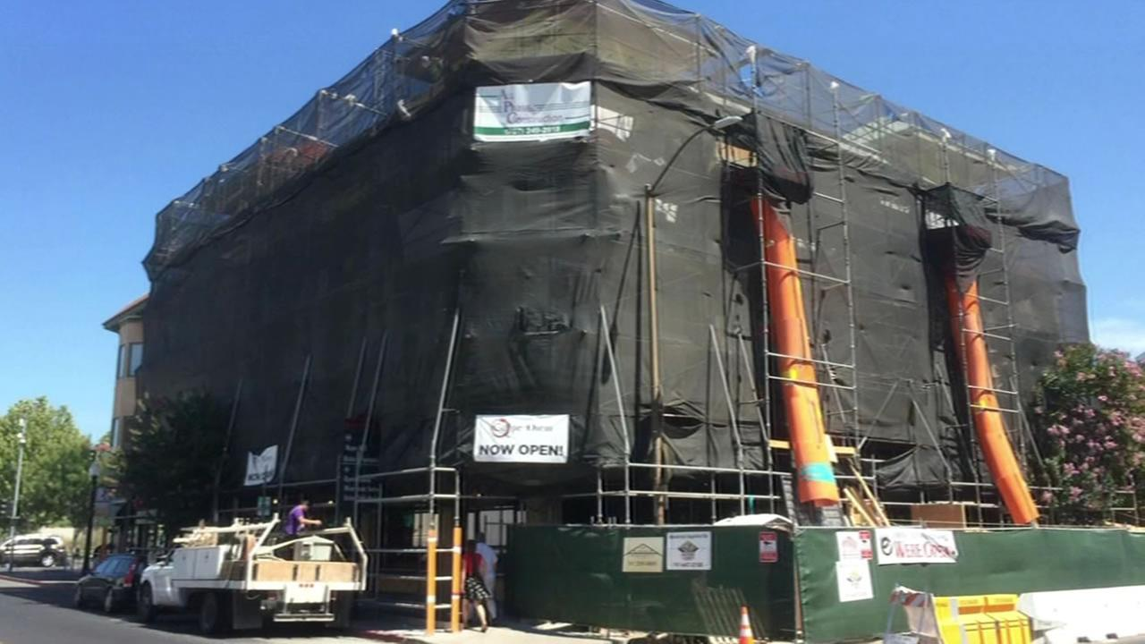 This August 24, 2015 photo shows a building in Napa, Calif. thats still under construction one year after a 6.0 earthquake struck the region.