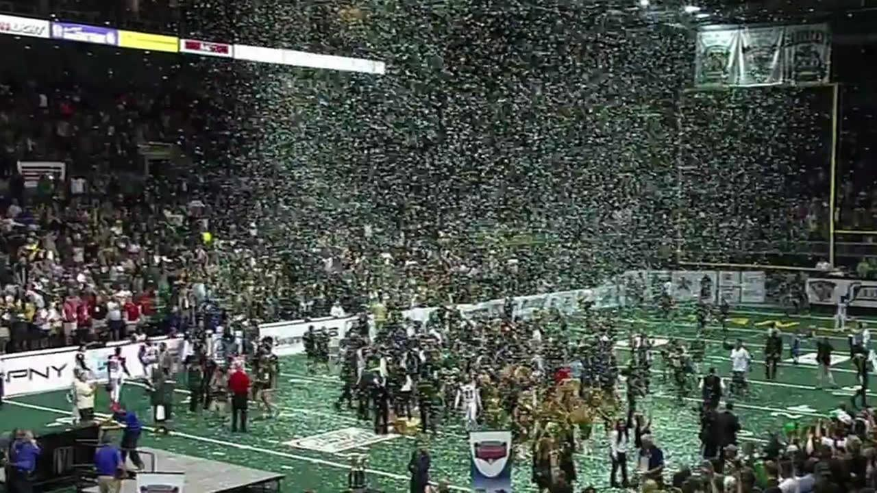 The San Jose SaberCats celebrate their 68-47 victory over the Jacksonville Sharks in the ArenaBowl on Saturday, August 29, 2015, in Stockton, Calif.