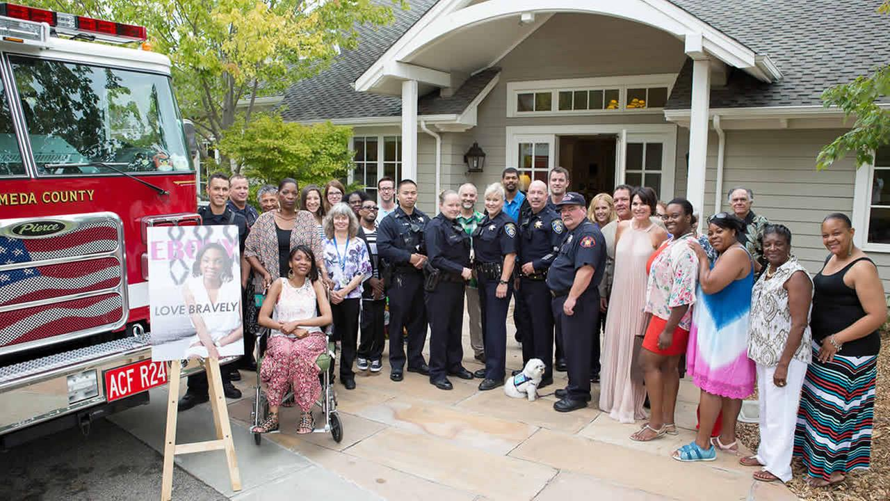 Police and fire departments joined forces to wish Tashawna, who has a rare disease called Friedreichs ataxia, a happy birthday in San Leandro, Calif. on August 29, 2015.