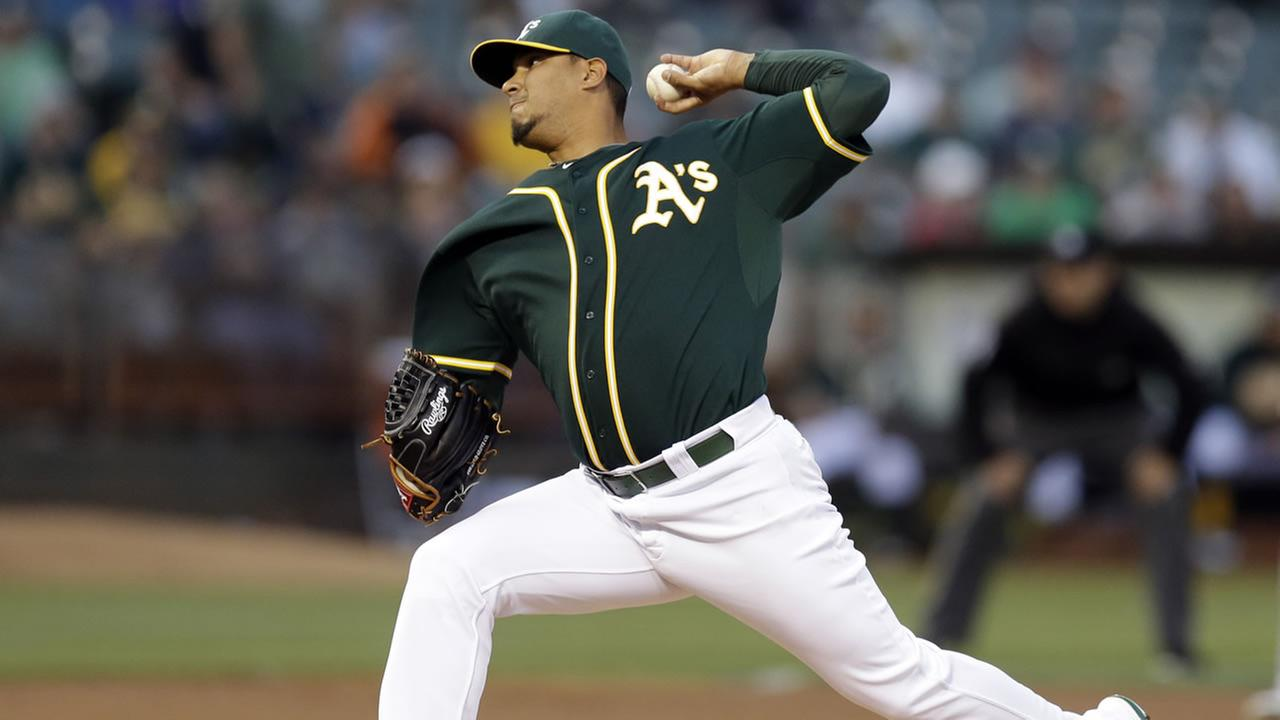 Oakland Athletics pitcher Felix Doubront works against the Los Angeles Angels in the first inning of a baseball game Monday, Aug. 31, 2015, in Oakland, Calif.