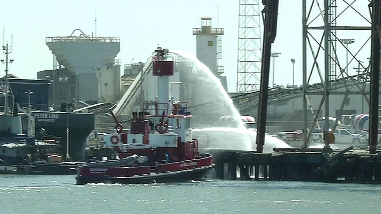 San Franciscos fireboat extinguished a small fire at Pier 90 near Amador and Third streets on Tuesday, September 1, 2015.