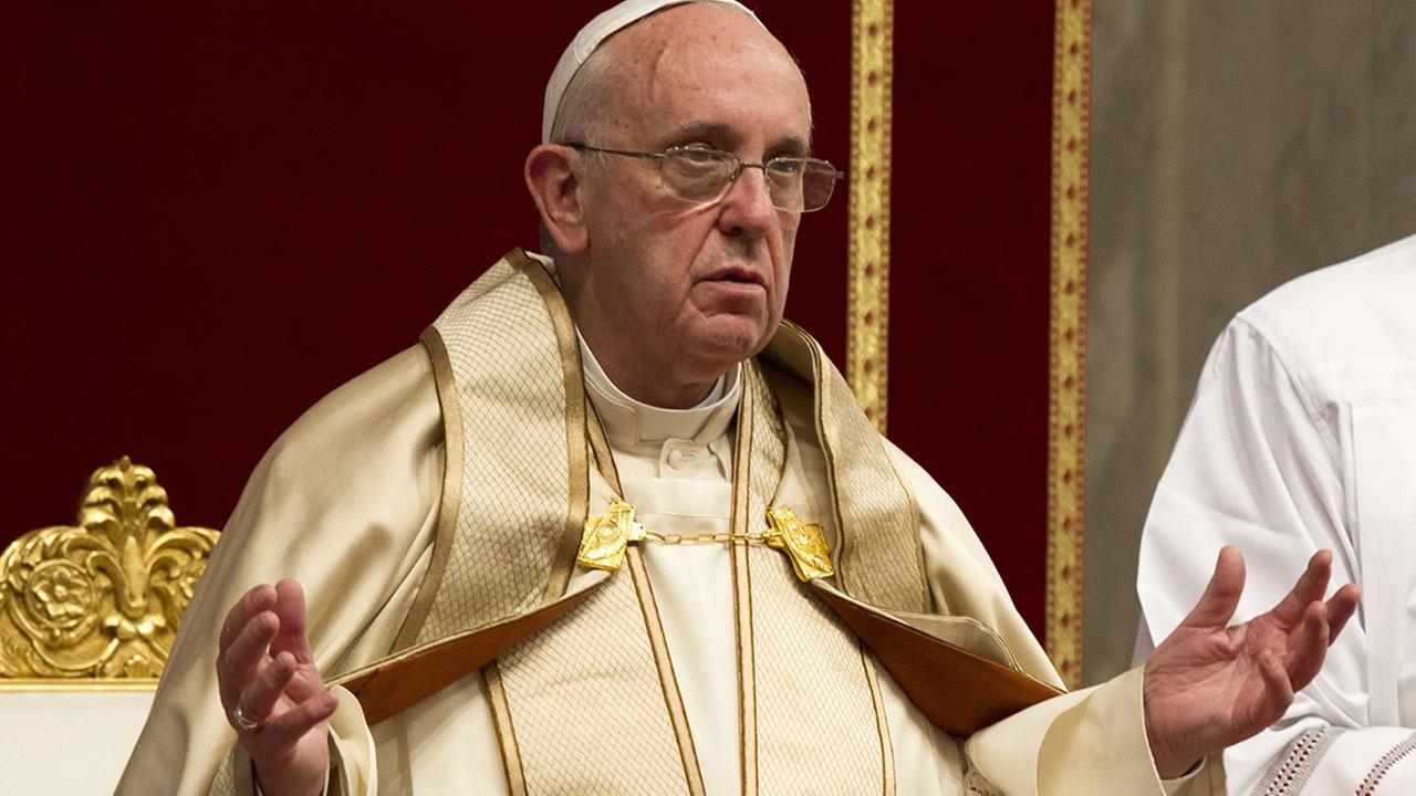 Pope Francis attends a prayer on the occasion of the World Day of the Creations care in St. Peters Basilica at the Vatican, Tuesday, Sept. 1, 2015. (AP Photo/Riccardo De Luca)
