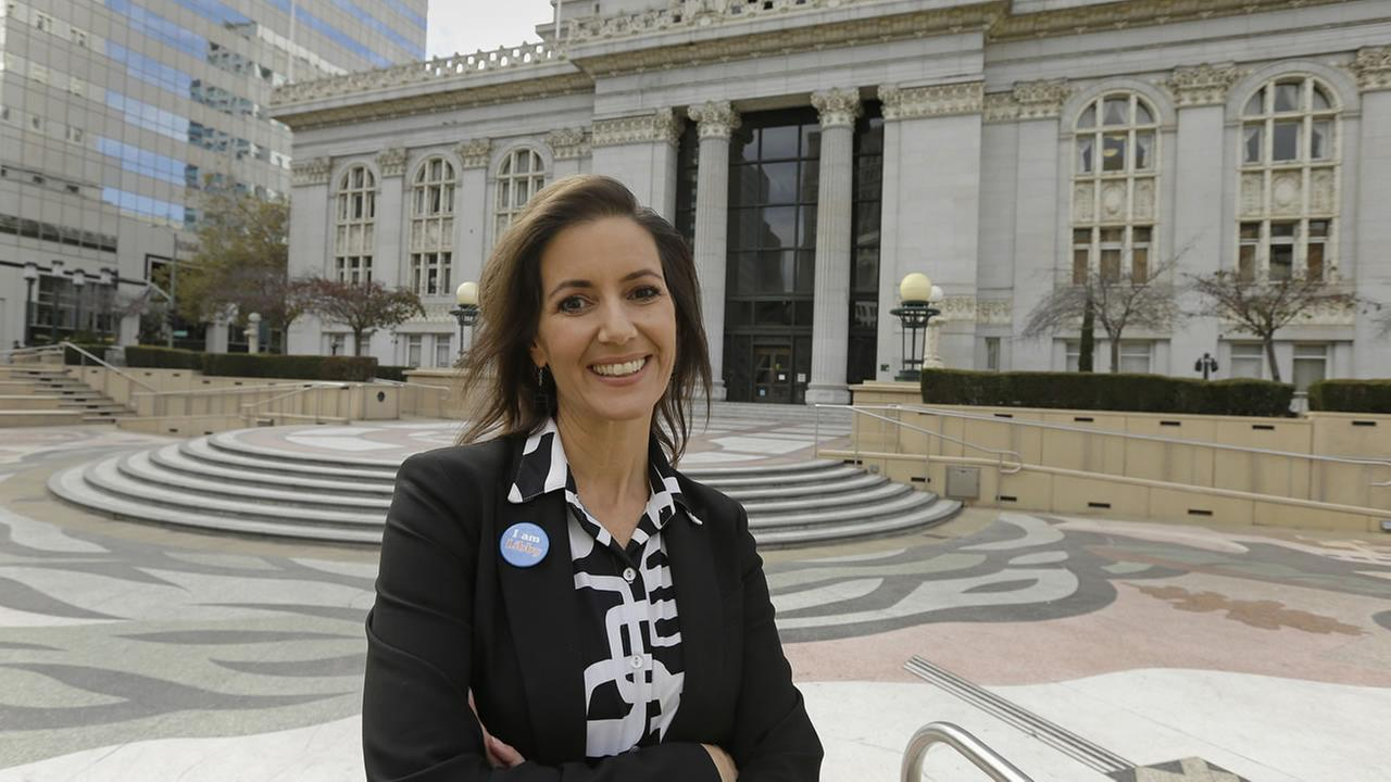 FILE: Oakland Mayor Libby Schaaf outside City Hall Monday, Oct. 27, 2014, in Oakland, Calif.