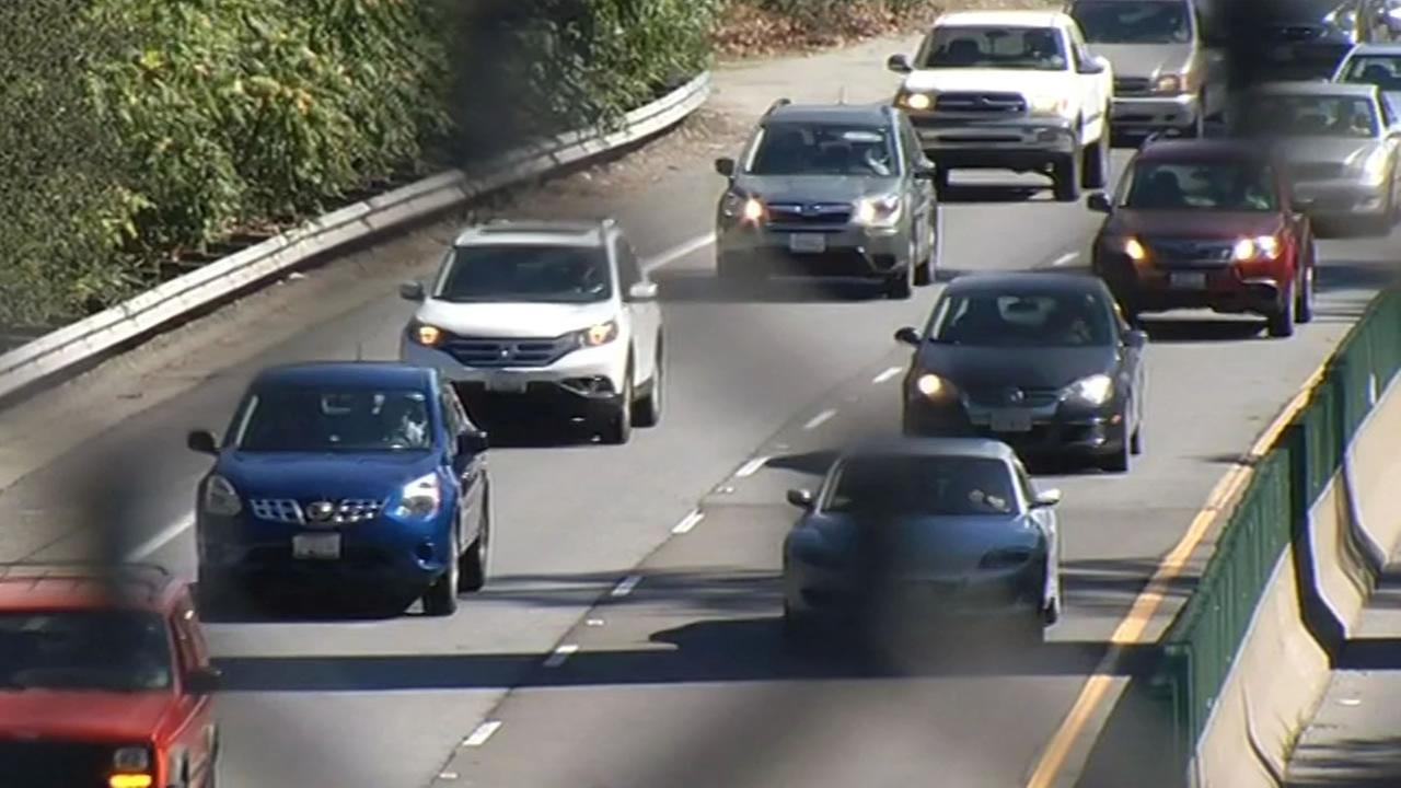 This image from Monday, September 7, 2015 shows cars driving on Highway 17 in Los Gatos, Calif.